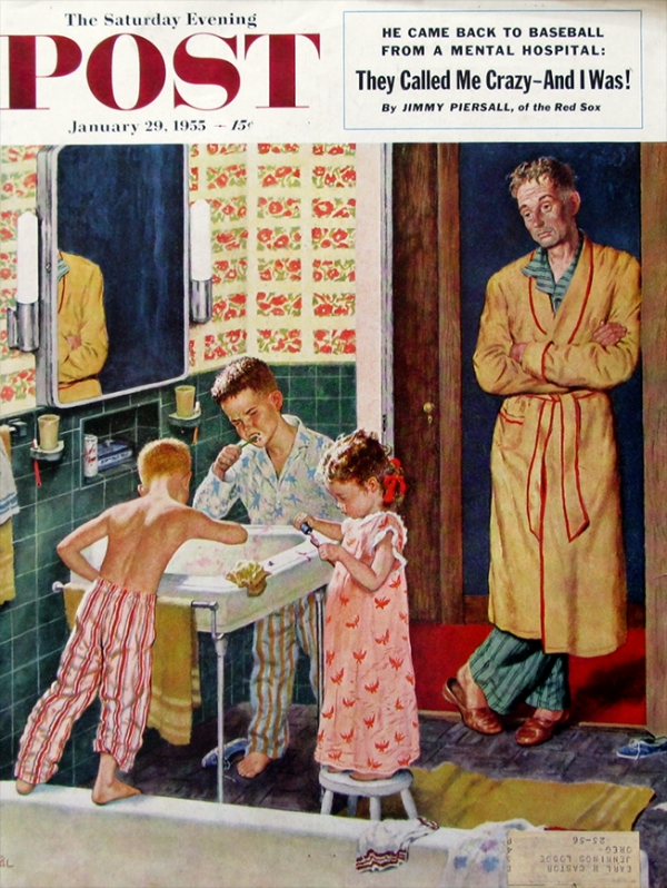 Amos Sewel 1901-1983. 'Brushing Their Teeth' Amos Sewell illustration, Saturday Evening Post cover, Jan 29, 1955. ©flickr(CC BY-NC-ND 4.0).