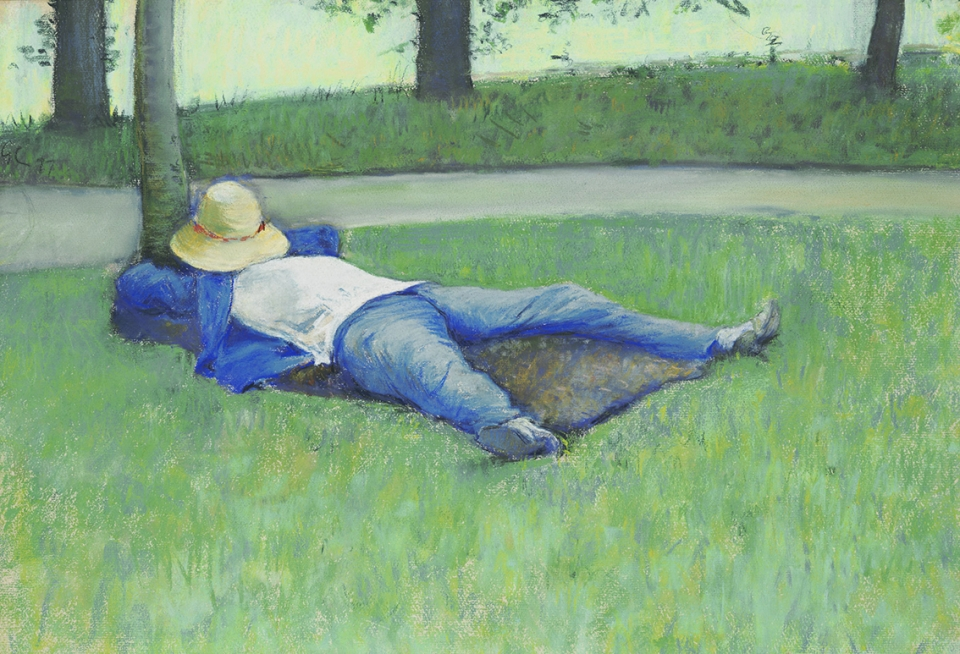 귀스타브 카유보트 Gustave Caillebotte 1848–1894.'The Nap', 1877, 종이위에 파스텔. 36 ×53 cm. Wadsworth Atheneum Museum of Art 소장.