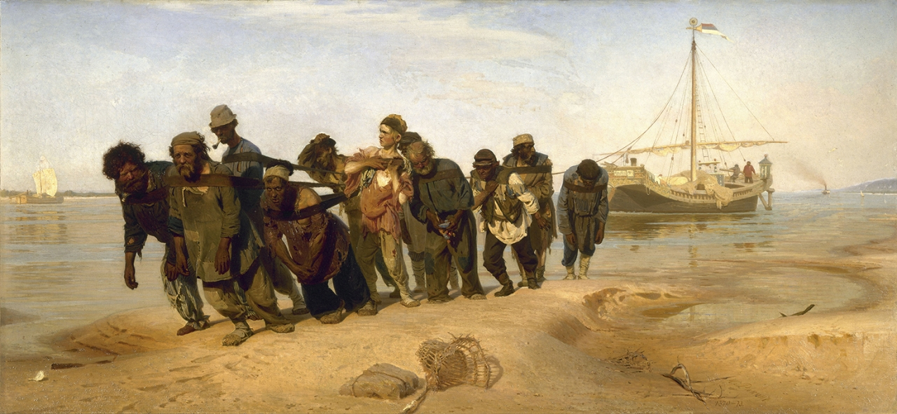 Ilya Repin, 1844–1930. 'Barge Haulers on the Volga', 1870, oil on canvas, 131.5×281cm, Russian Museuml.