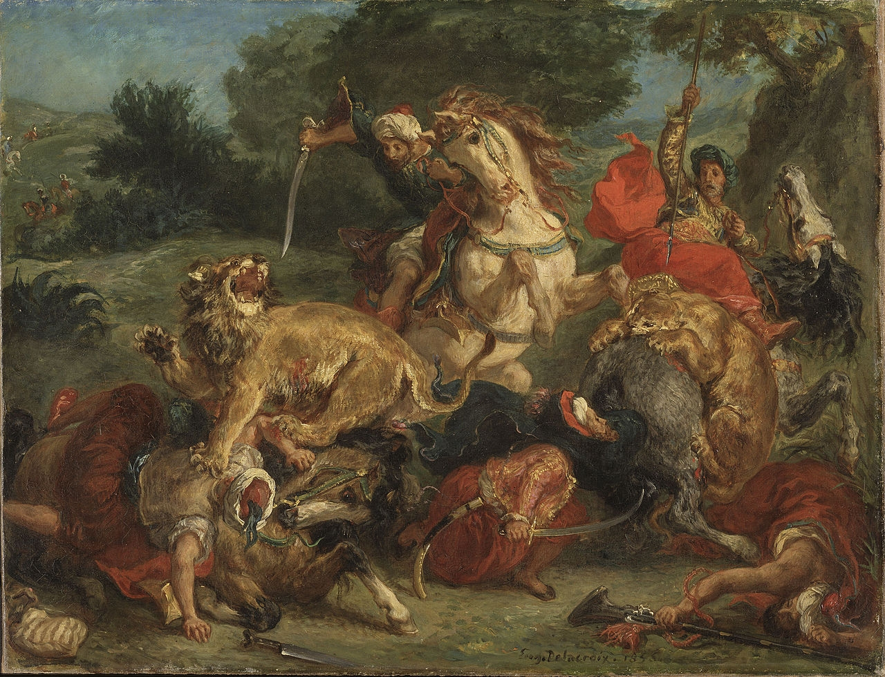 Eugène Delacroix  (1798–1863), 'The Lion Hunt', 1855, Oil on canvas, 57 * 74 cm,Nationalmuseum, Sweden.