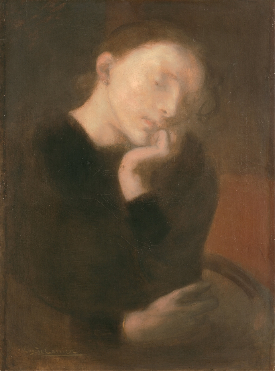 Eugène Carrière, 1849–1906. 'Meditation', 1890-1893, oil on canvas, 48.7 x 65.5 cm, Ohara Museum of Art.