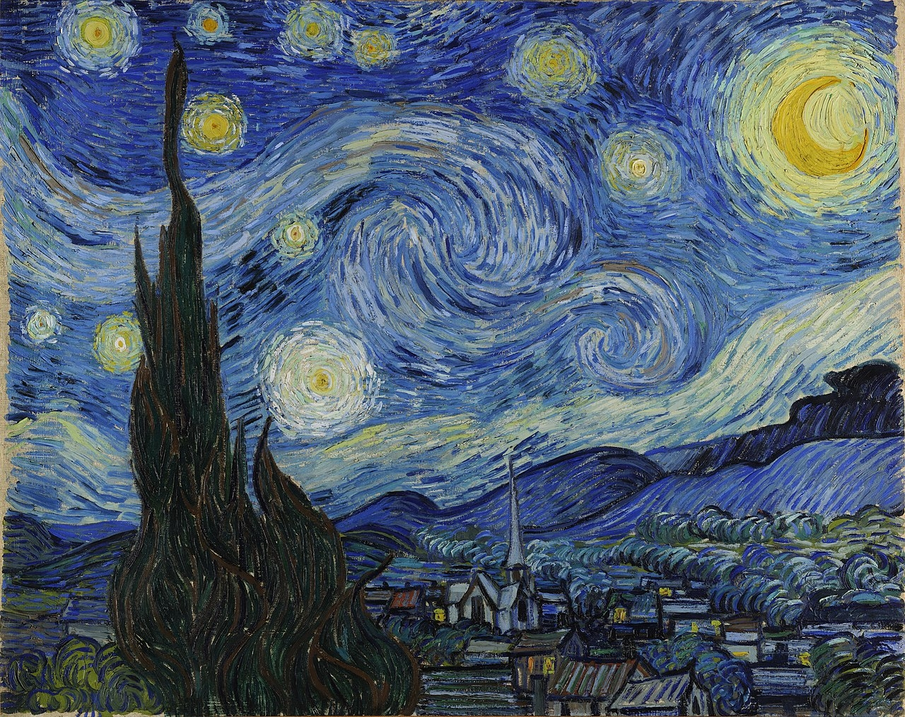 Vincent van Gogh , 'The Starry Night',1889, Oil on canvas, 73.7 × 92.1 cm, Museum of Modern Art, New York City