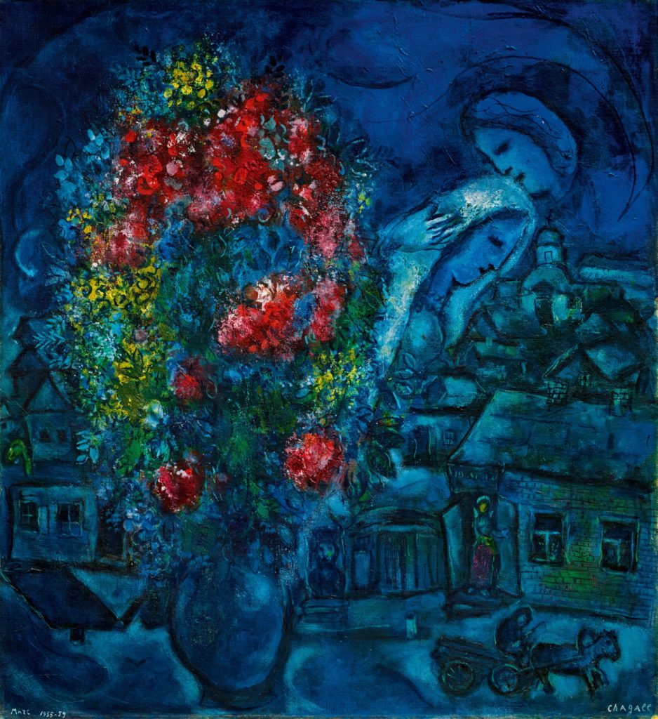 "Marc Chagall's floral festooned composition of a Russian village with floating figures, ""Le Village bleu"" from 1955-59."