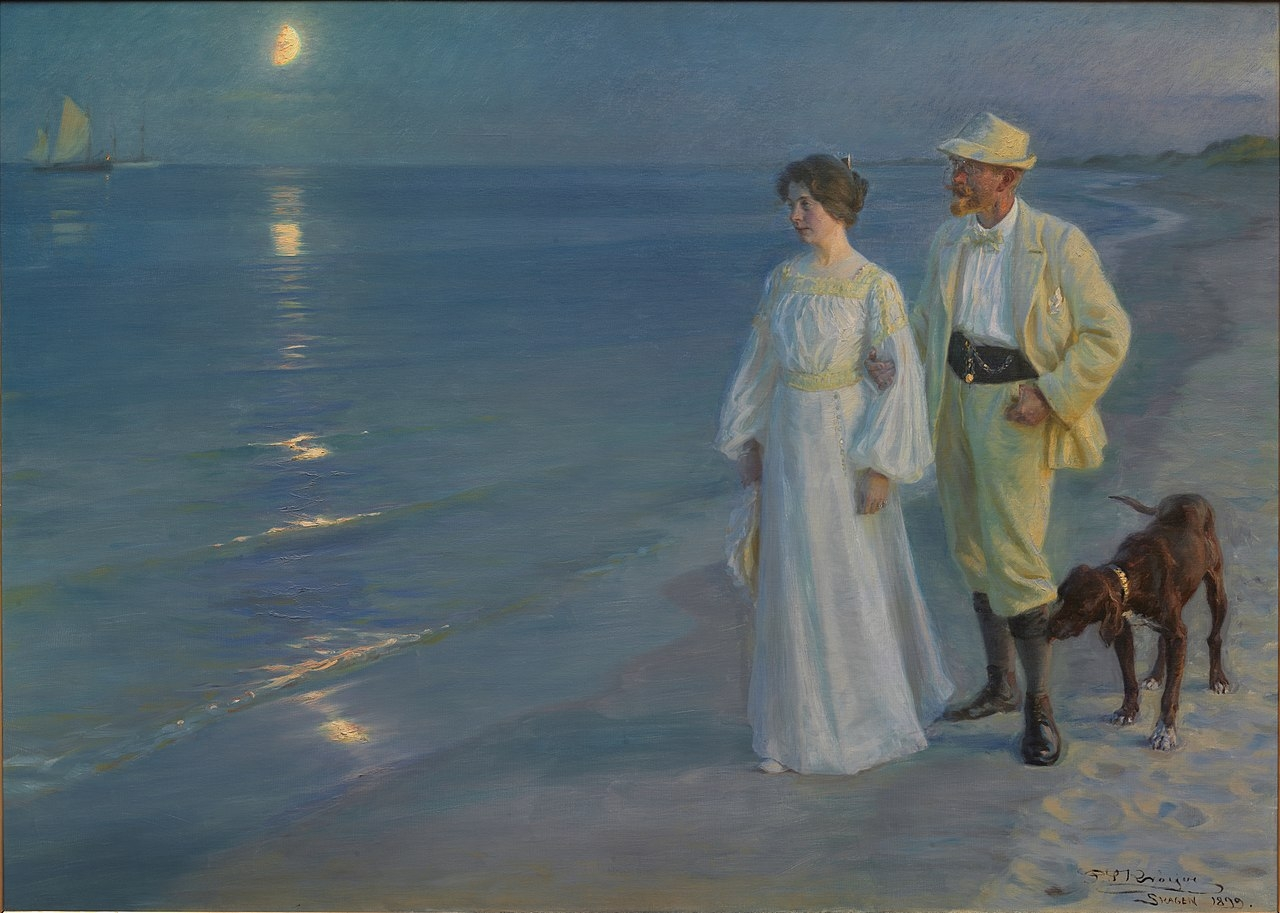 Peder Severin Krøyer  (1851–1909), ' Summer Evening at Skagen Beach – The Artist and his Wife', 1899, oil on canvas, 135 * 187 cm, Hirschsprung Collection .