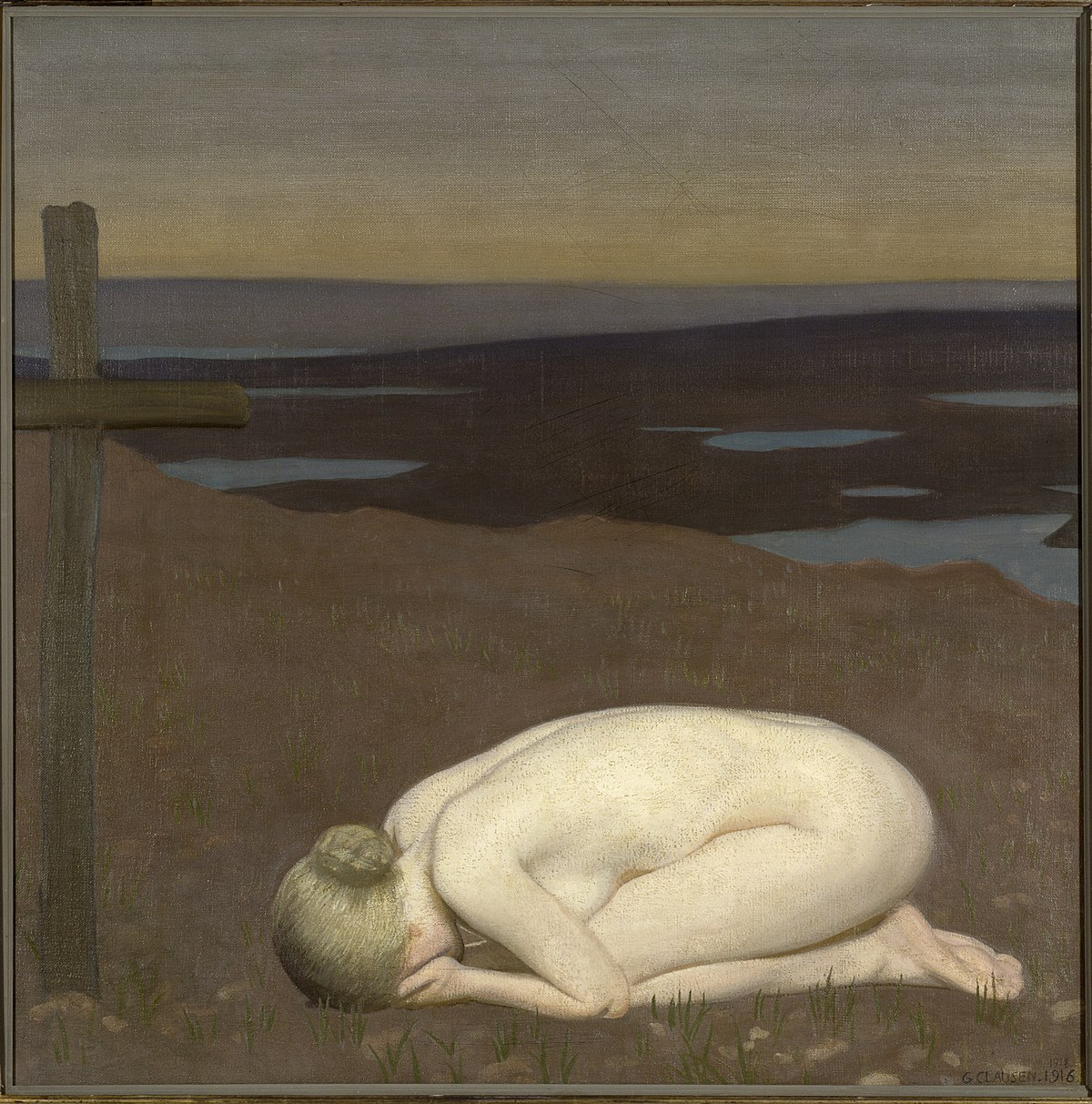 George Clausen, 'Youth Mourning', 1916,  oil on canvas,  914* 914 mm, War Imperial  Museum, London.