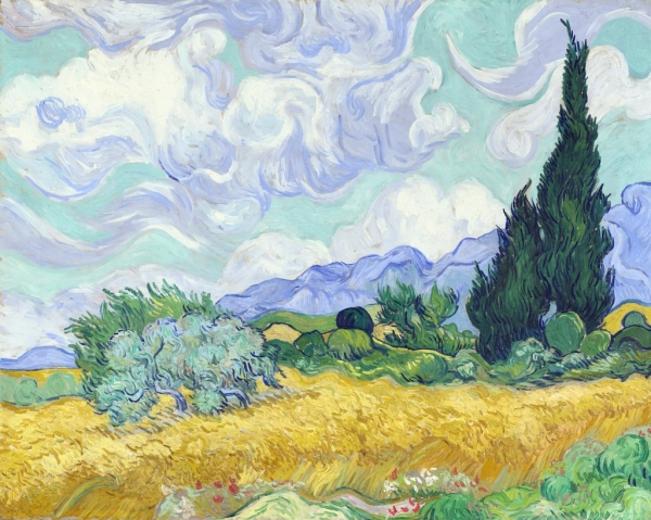 """A Wheat Field, With Cypresses"" (1889), by Vincent van Gogh, National Gallery, London 2014."