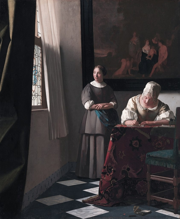 Johannes Vermeer  (1632–1675), Lady Writing a Letter with her Maid, 1670-1671, 	oil on canvas, 72,2 x 59,7 cm, National Gallery of Ireland.